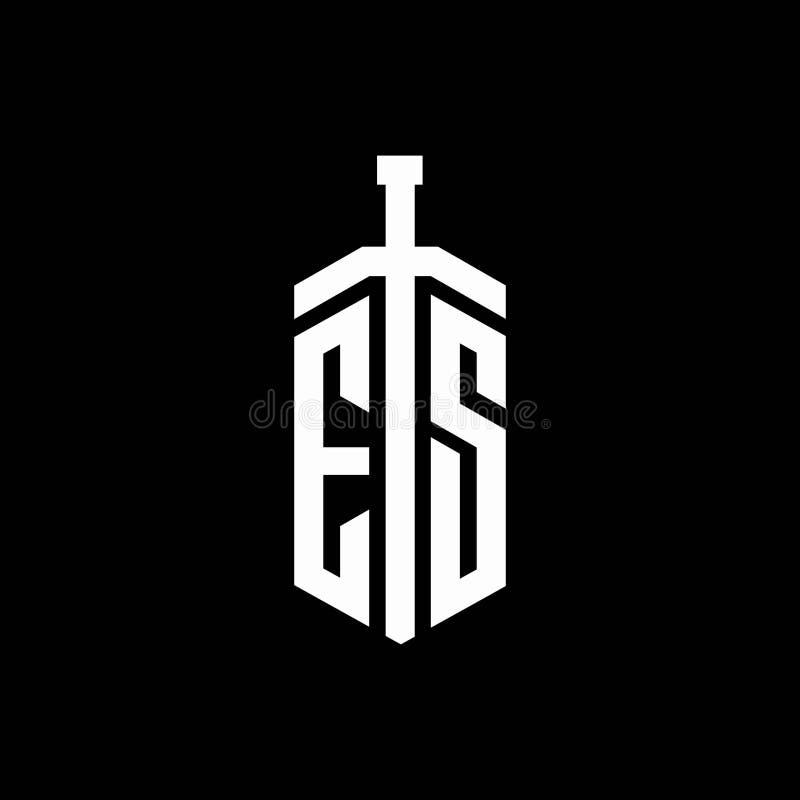 Es Logo Monogram With Sword Element Ribbon Design Template Stock Vector Illustration Of Modern Alphabet 173926039