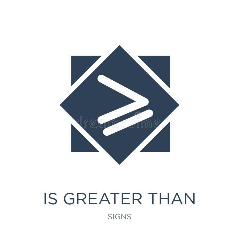 es mayor o igual el icono en estilo de moda del diseño es mayor o igual el icono aislado en el fondo blanco es mayor stock de ilustración