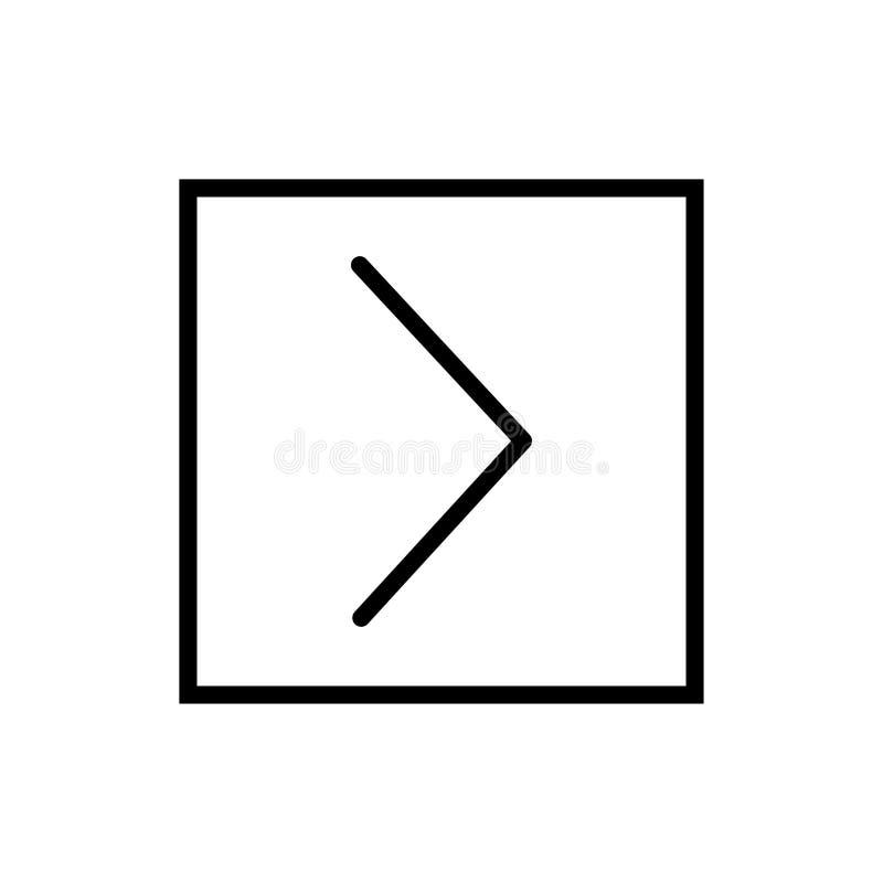 Es mayor que el vector del icono aislado en el fondo blanco, es mayor que los elementos de la muestra, de la línea y del esquema  stock de ilustración