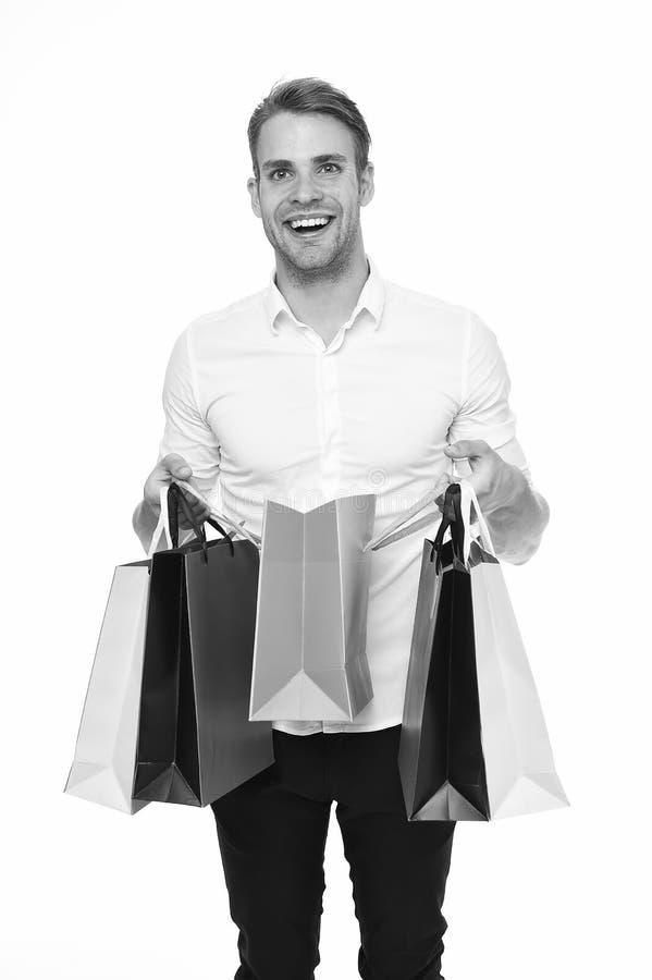 Es para mí El individuo satisfecho consiguió el regalo del bolso Blanco aislado regalo recibido feliz del paquete del hombre Entr fotos de archivo libres de regalías