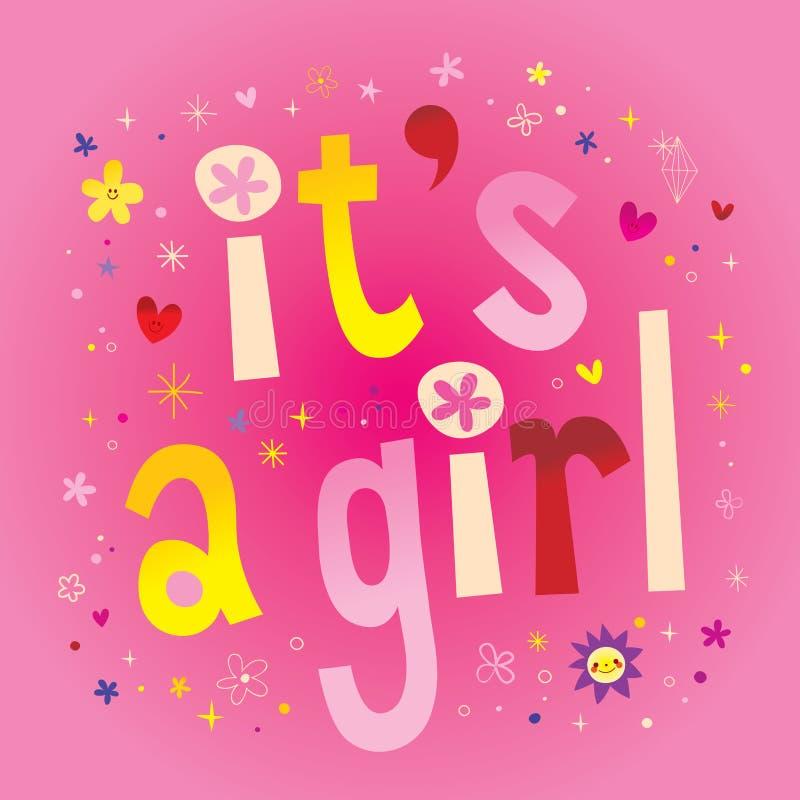 Es ` s ein Mädchen - annoncement Karte lizenzfreie abbildung