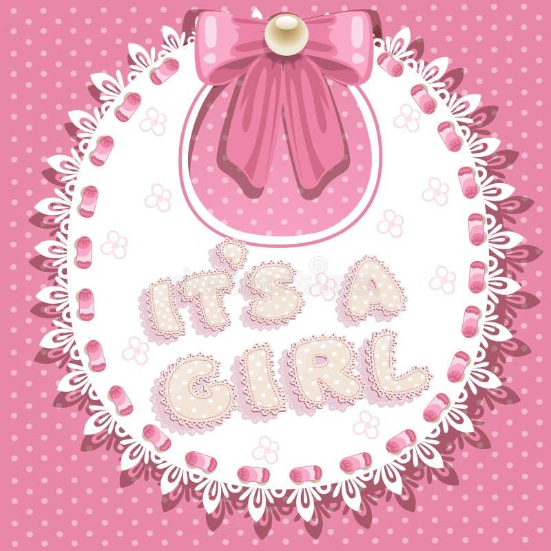 Es ` s ein Mädchen-Babyparty auf Schellfisch lizenzfreie abbildung