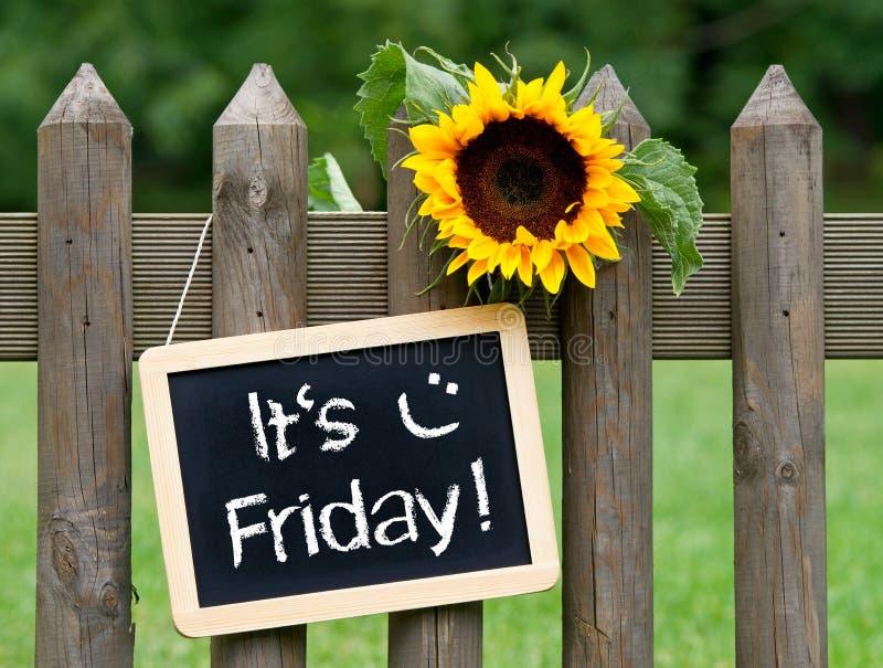 Es ` s Freitag - Tafel mit Sonnenblume und Text stockbild