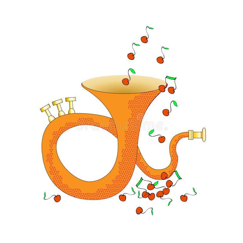 Es un contenido real de la música del alma Instrumento musical de cobre amarillo Vector Y las notas vuelan como las frutas Divers libre illustration