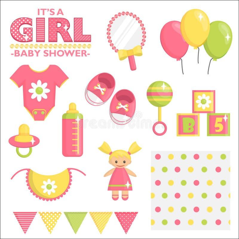 Es un sistema de la fiesta de bienvenida al bebé de la muchacha ilustración del vector