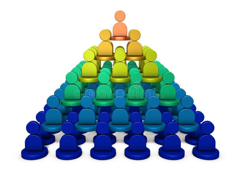 Es una estructura de la pirámide, fila de poder Representa la estructura de la organización ilustración del vector