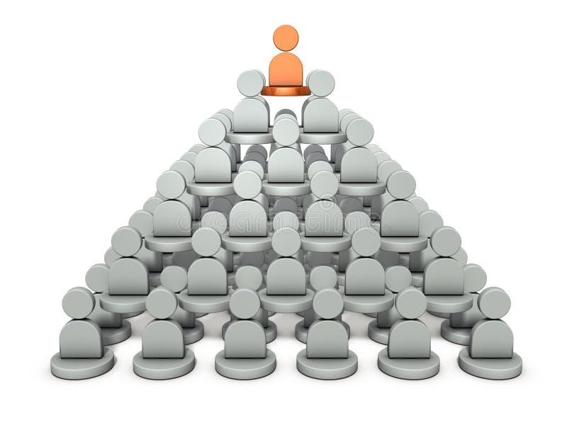 Es una estructura de la pirámide, fila de poder Representa la estructura de la organización stock de ilustración