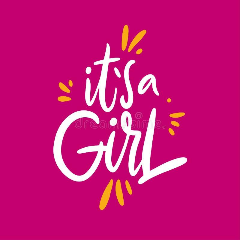 Es una frase de la muchacha Letras dibujadas mano del vector Aislado en fondo rosado libre illustration