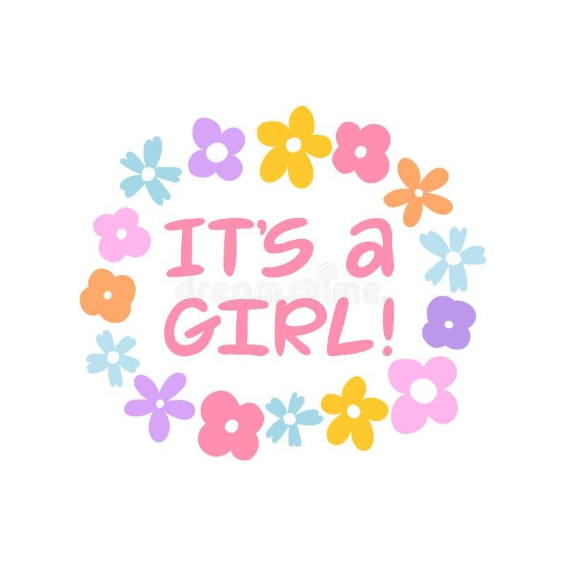 Es una mano de la muchacha escrita poniendo letras a la tarjeta de felicitaci?n Ejemplos de la flor Tarjeta de la ducha de beb? C ilustración del vector