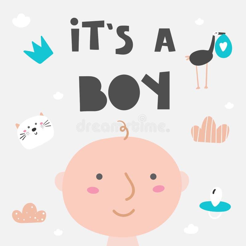 Es una tarjeta del muchacho, postal, bandera con el muchacho recién nacido, gato, entrerrosca, cigüeña, nube, corona ilustración del vector