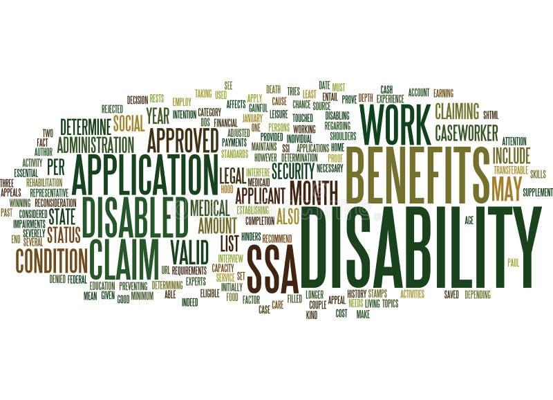 Es usted dio derecho para demandar concepto de la nube de la palabra de las pagas por invalidez stock de ilustración