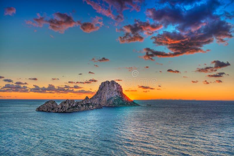 ES Vedrà ¡ -伊维萨岛-岩石 库存照片