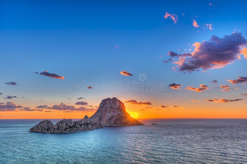 ES Vedrà ¡ -伊维萨岛-岩石 免版税库存照片