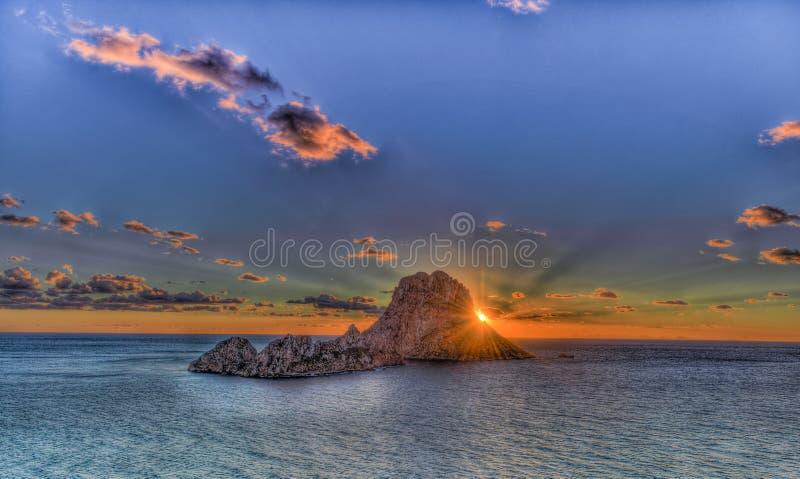 ES Vedrà ¡ -伊维萨岛- La roca 免版税库存照片