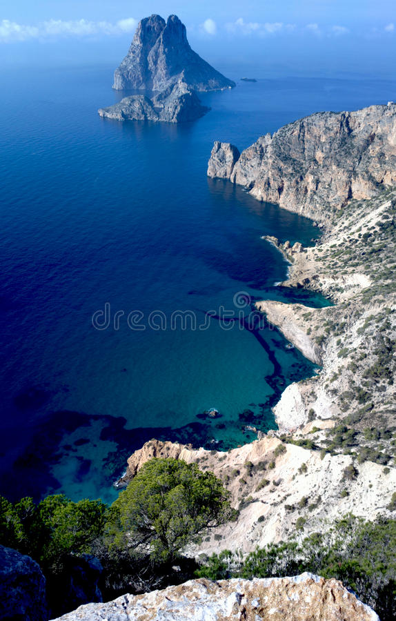 Es Vedra and Atlantis Ibiza high view stock images