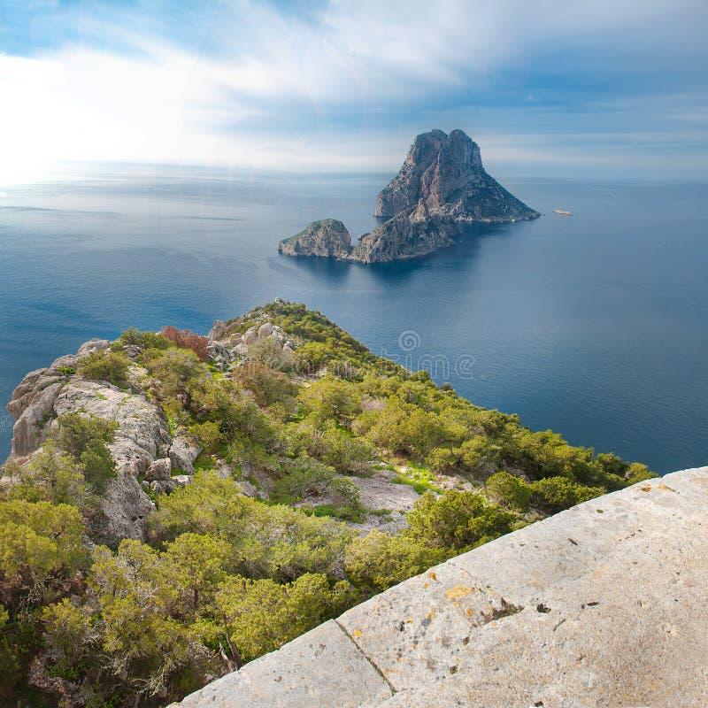 Es Vedra island in Ibiza stock photography