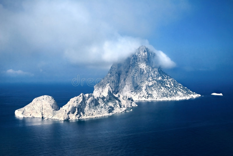 Es Vedra by night stock photography
