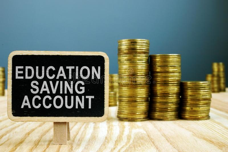 ESA Education Saving Account concept. Stack of money stock image