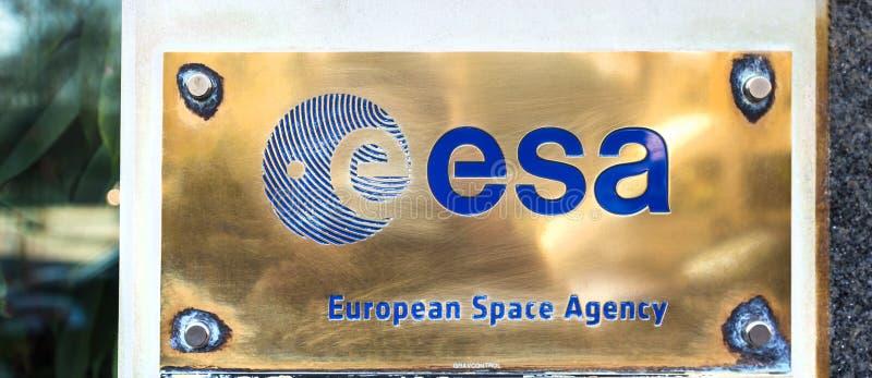 Esa europejska agencja kosmiczna podpisuje wewnątrz Brussels Belgium fotografia royalty free