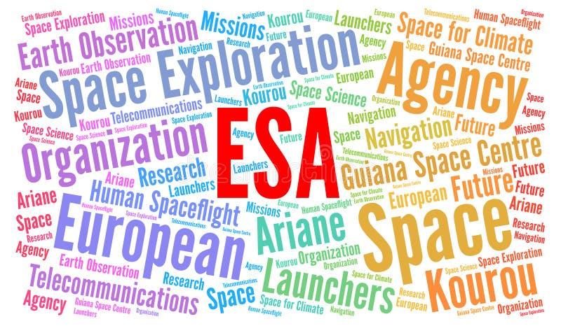 ESA, nuvem da palavra da Agência Espacial Europeia ilustração royalty free