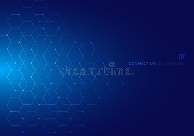 Esagoni astratti con geometrico digitale di nodi con le linee ed i punti su fondo blu Concetto del collegamento di tecnologia illustrazione vettoriale