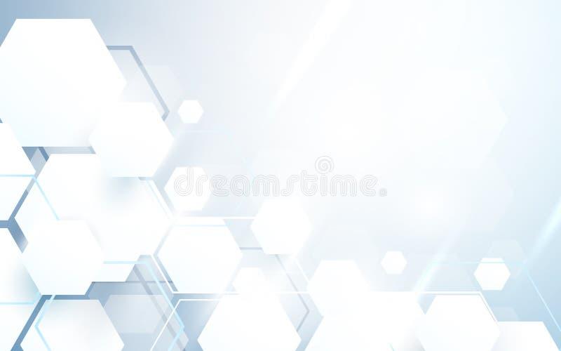 Esagoni bianchi astratti che si ripetono e fondo futuristico di concetto di tecnologia illustrazione di stock