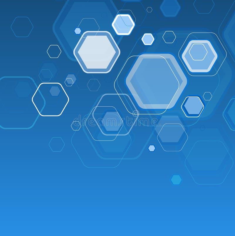 Esagono blu astratto del fondo Illustrazione di vettore illustrazione di stock