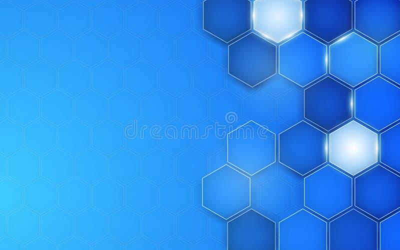 Esagono blu astratto del fondo Vettore illustrazione vettoriale