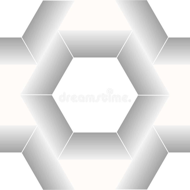 Esagono dell'alveare e fondo astratti dello spazio fondo geometrico astratto in bianco e nero, stampa d'avanguardia, monocromio illustrazione vettoriale