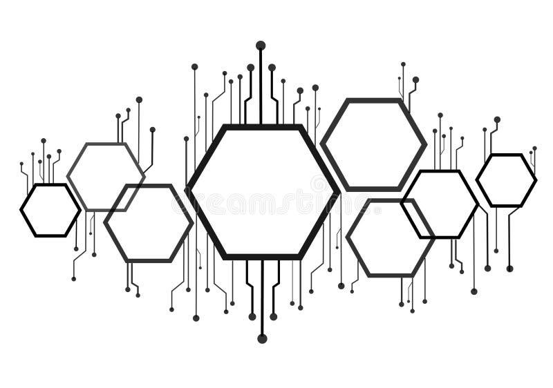 Esagono e linea astratti fondo di tecnologia illustrazione vettoriale