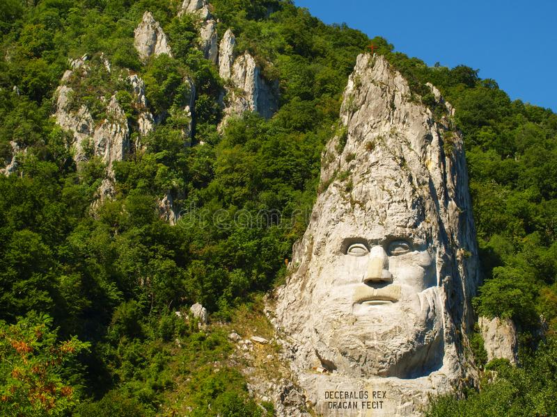 Esalnita, Romania - The statue of Decebal carved in the mountain, Iron Gates Natural Park royalty free stock images
