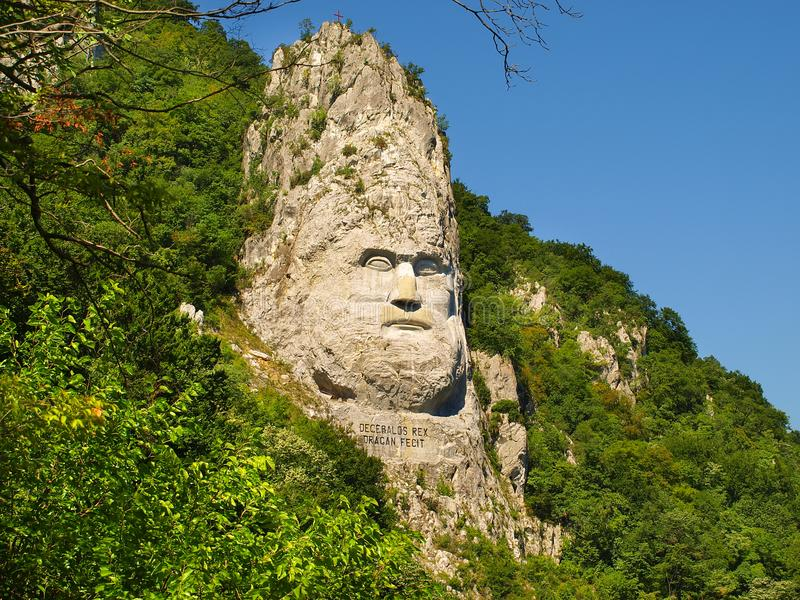 Esalnita, Romania - The statue of Decebal carved in the mountain, Iron Gates Natural Park stock images
