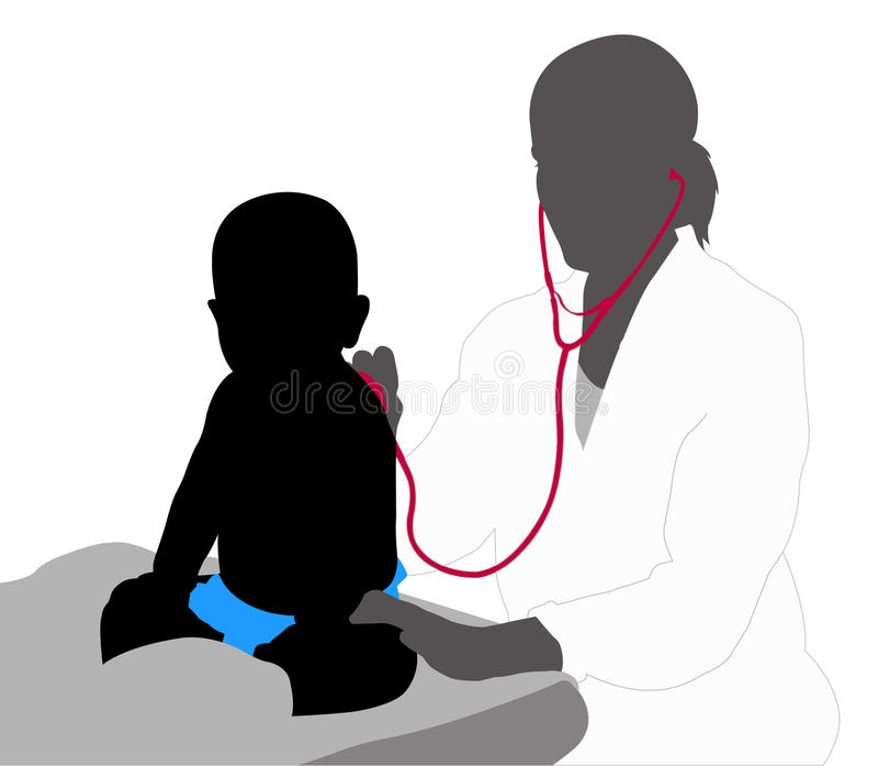 Esame del pediatra del bambino con lo stetoscopio illustrazione vettoriale