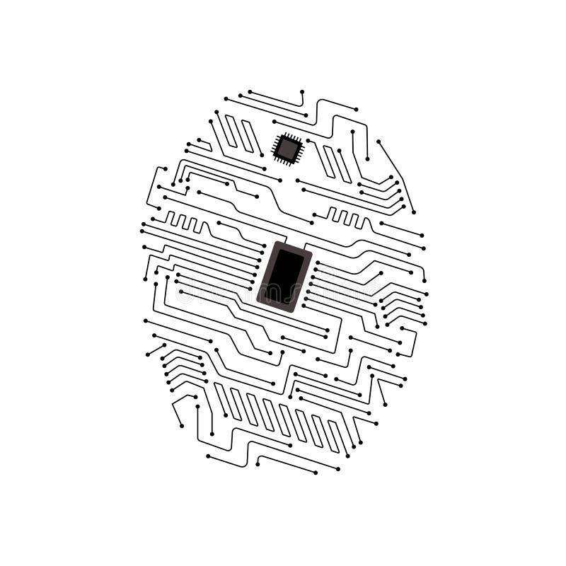 Esame dell'impronta digitale sull'illustrazione di vettore del circuito illustrazione vettoriale