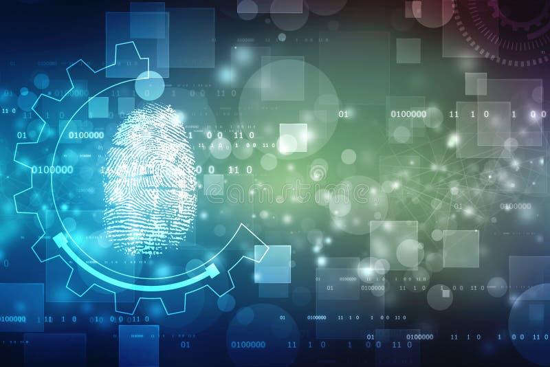 Esame dell'impronta digitale sullo schermo digitale Concetto cyber di obbligazione royalty illustrazione gratis