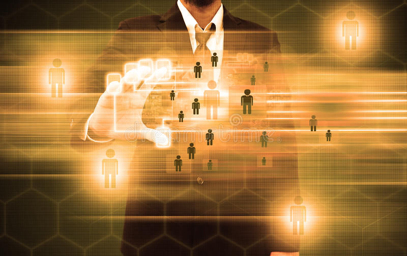 Esame dell'uomo d'affari di un dito su un'interfaccia del touch screen illustrazione vettoriale