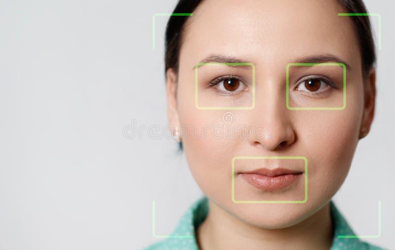 Esame futuristico e tecnologico del fronte di bella donna per riconoscimento facciale e della persona esplorata Può servire a