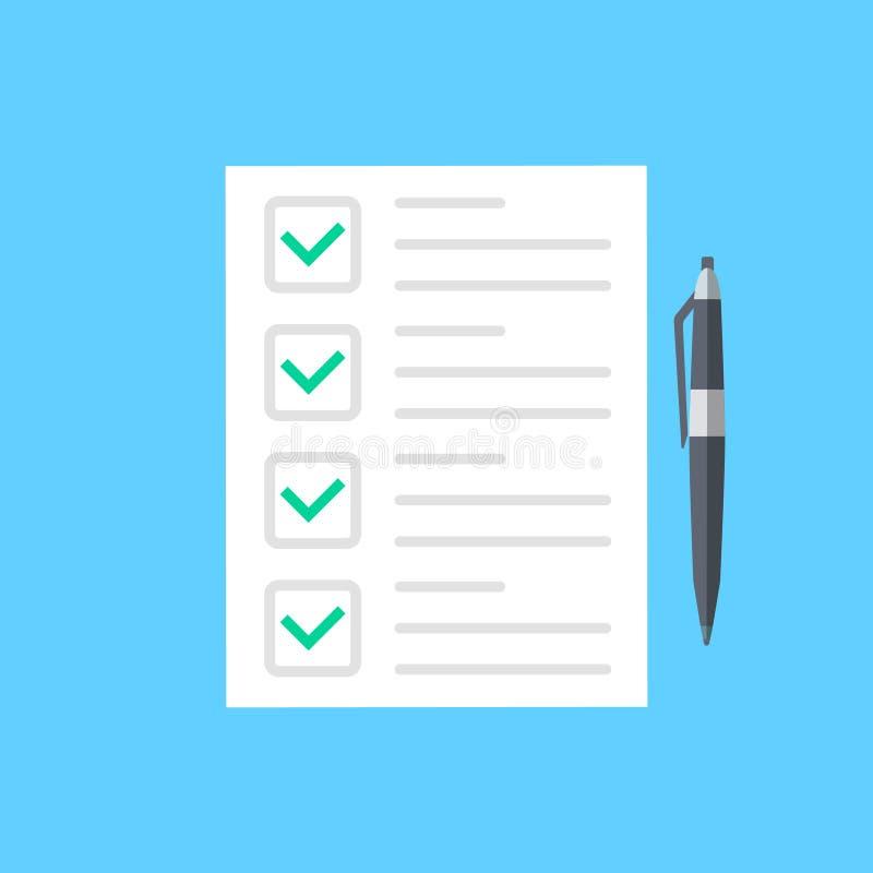 Esamini l'icona della forma, strato di carta di stile di buoni risultati piani dell'esame con la penna, l'idea della forma di qui illustrazione di stock