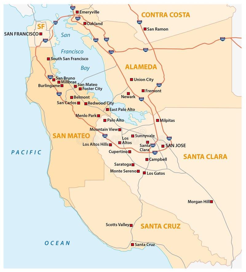 Esamini la mappa di vettore del californiano Silicon Valley, Stati Uniti royalty illustrazione gratis