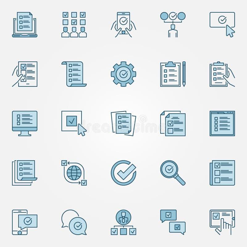 Esamini le icone colorate messe - vector i segni di concetto della lista di controllo illustrazione vettoriale