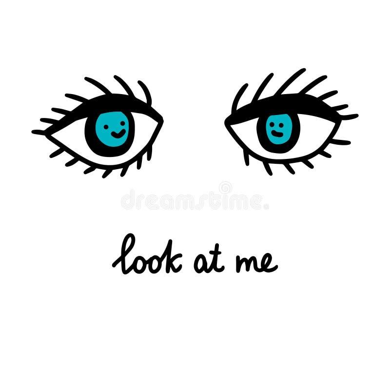 Esaminimi illustrazione disegnata a mano di vettore nello stile del fumetto Due occhi blu con i fronti dentro iscrizione illustrazione di stock