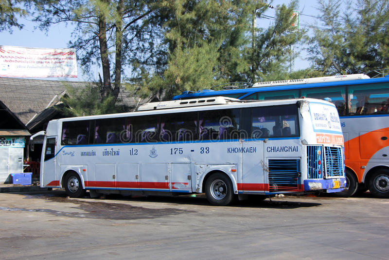 Esarn tour company bus no.175-33. CHIANGMAI, THAILAND - DECEMBER 27 2014: Esarn tour company bus no.175-33 route Khonkaen and Chiangmai. Photo at Chiangmai bus stock photo