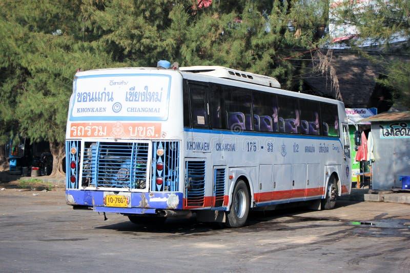 Esarn tour company bus no.175-33. CHIANGMAI, THAILAND - DECEMBER 27 2014: Esarn tour company bus no.175-33 route Khonkaen and Chiangmai. Photo at Chiangmai bus stock photography