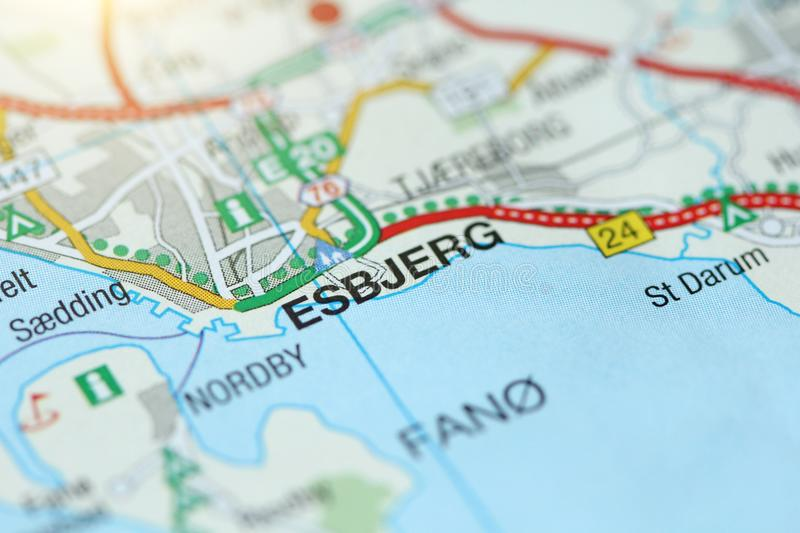 Esbjerg. Kongeriget Danmark. A paper map and roads on the map royalty free stock images