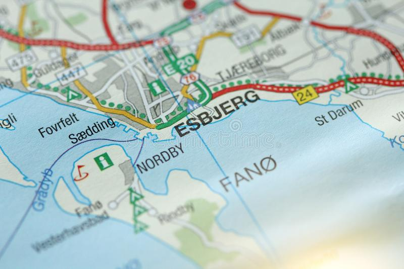 Esbjerg. Kongeriget Danmark. A paper map and roads on the map stock images