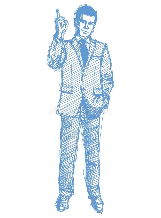 Esboç o macho no terno ilustração royalty free