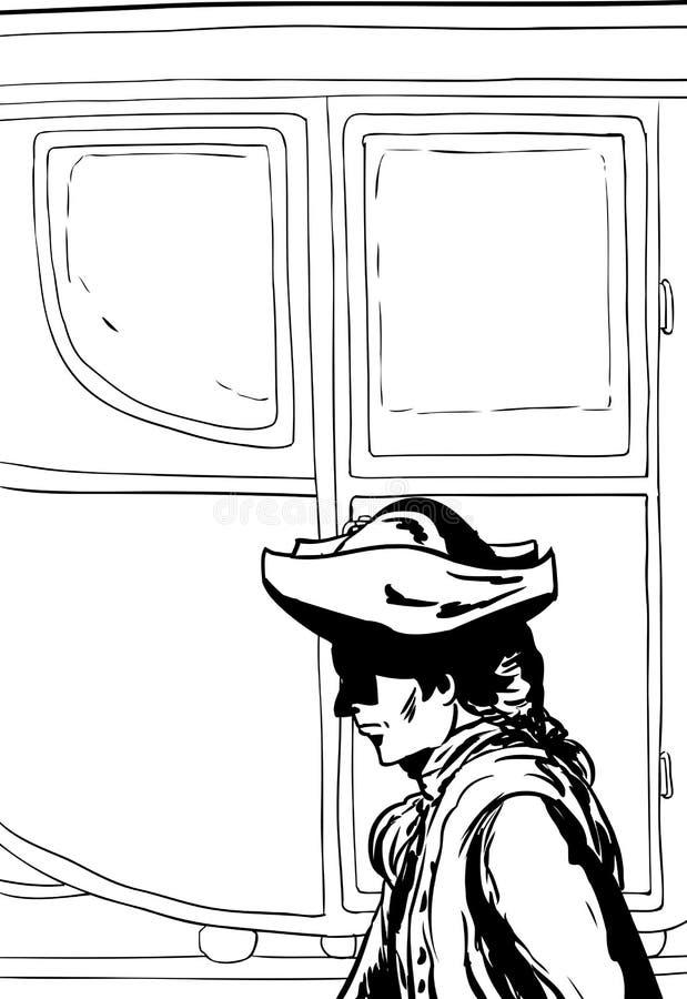 Esboçado do homem que anda após o carrinho ilustração do vetor