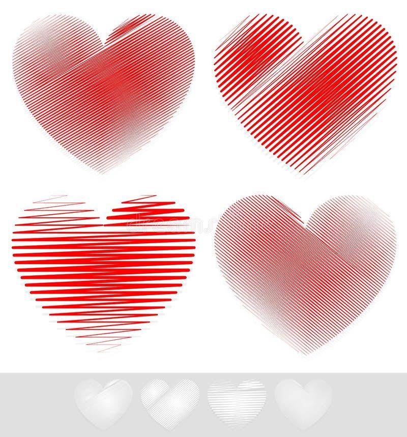 Esboçado, grupo do coração da garatuja ilustração stock