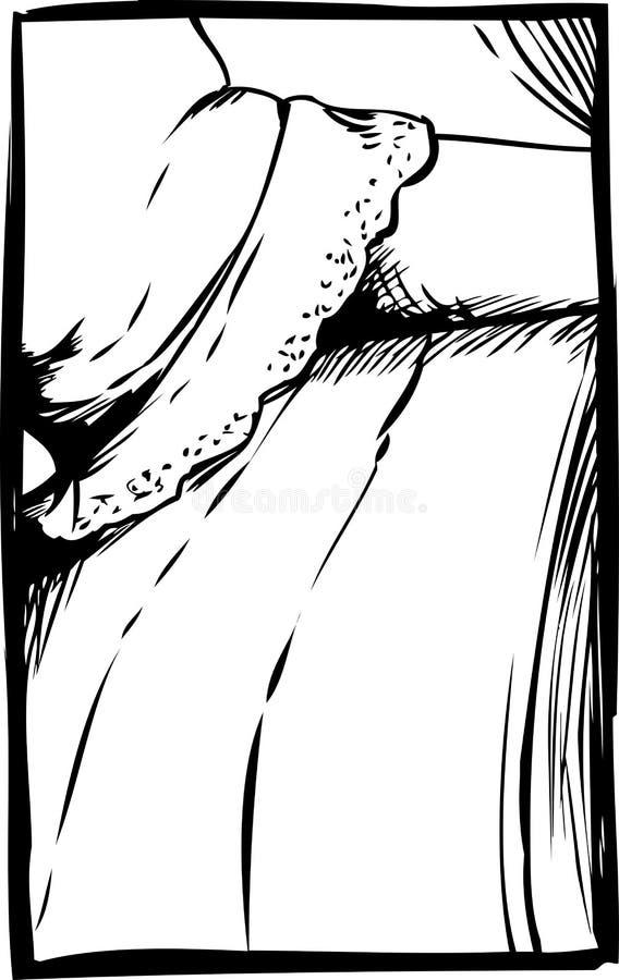 Esboçado perto acima do braço sob a luva atada ilustração royalty free