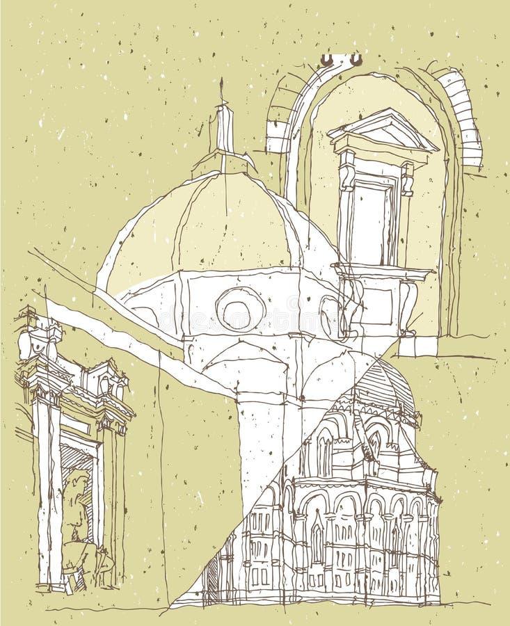 Esboçando a arquitetura histórica em Italia ilustração royalty free